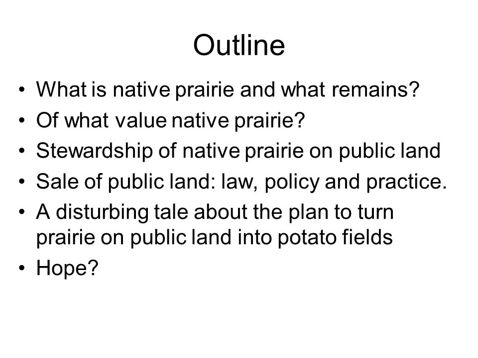 Outline What is native prairie and what remains. Of what value native prairie.