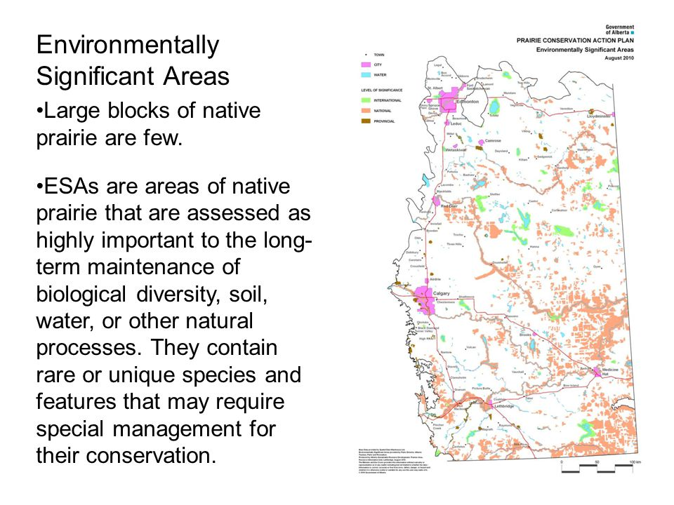 Environmentally Significant Areas Large blocks of native prairie are few.