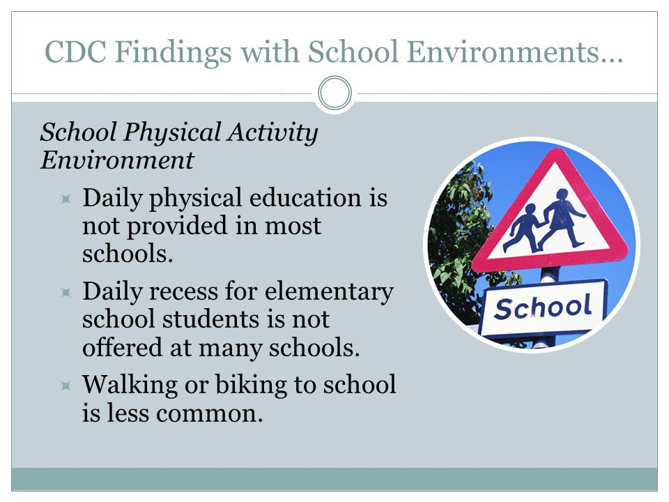 CDC Findings with School Environments… School Physical Activity Environment  Daily physical education is not provided in most schools.