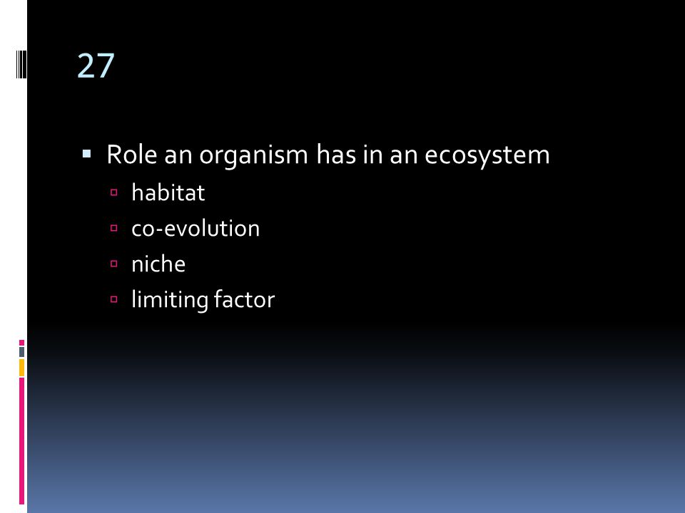 27  Role an organism has in an ecosystem  habitat  co-evolution  niche  limiting factor