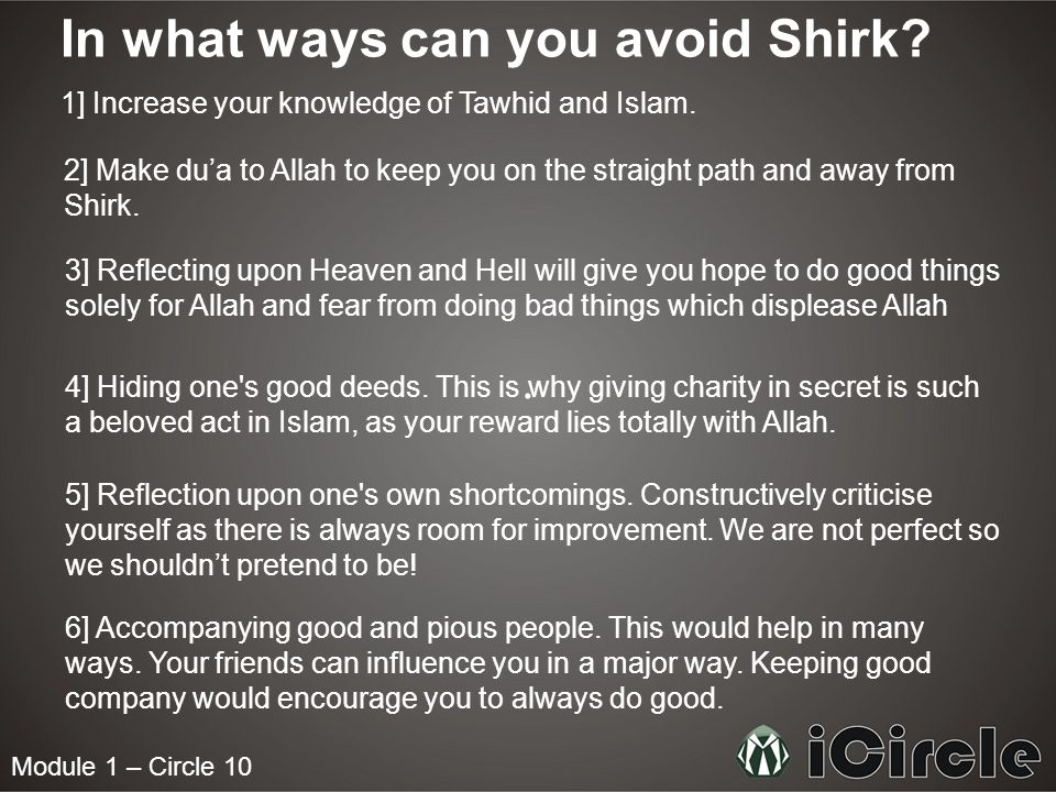 Module 1 – Circle 10 In what ways can you avoid Shirk.