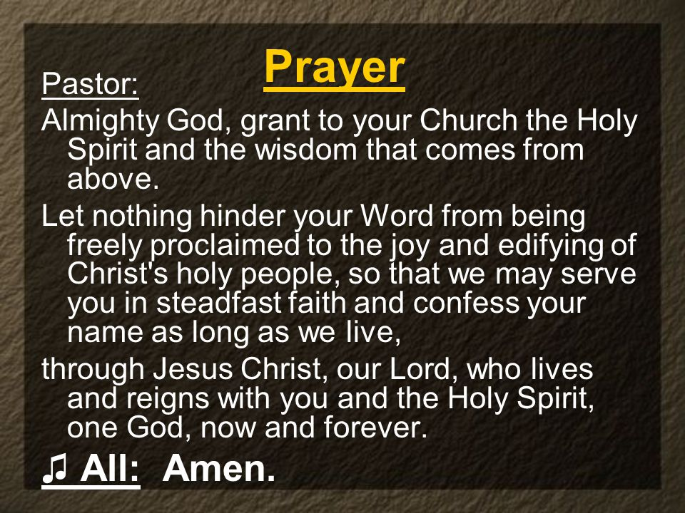 Pastor: Almighty God, grant to your Church the Holy Spirit and the wisdom that comes from above.