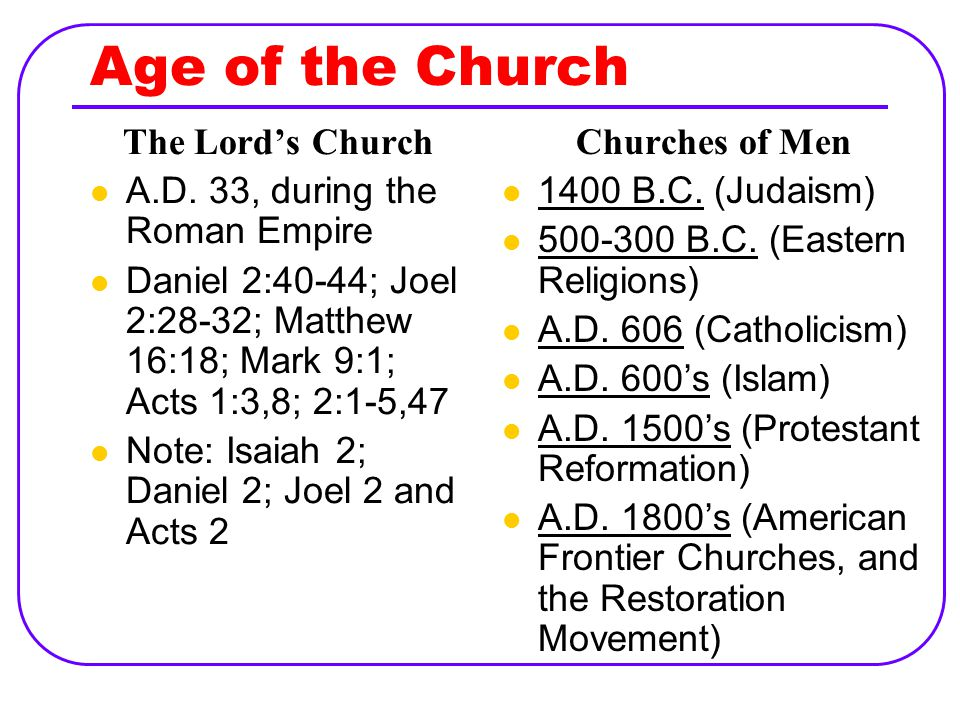 Age of the Church The Lord's Church A.D.