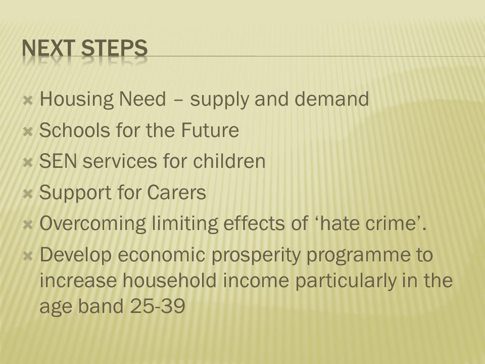 Housing Need – supply and demand  Schools for the Future  SEN services for children  Support for Carers  Overcoming limiting effects of 'hate crime'.