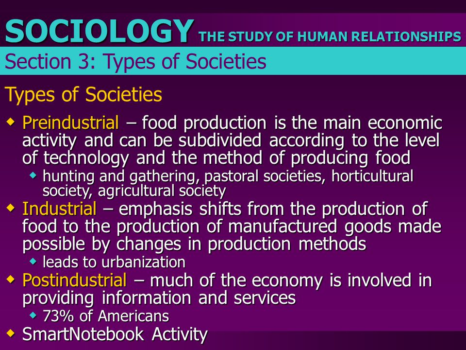 THE STUDY OF HUMAN RELATIONSHIPS SOCIOLOGY Types of Societies  Preindustrial – food production is the main economic activity and can be subdivided ac