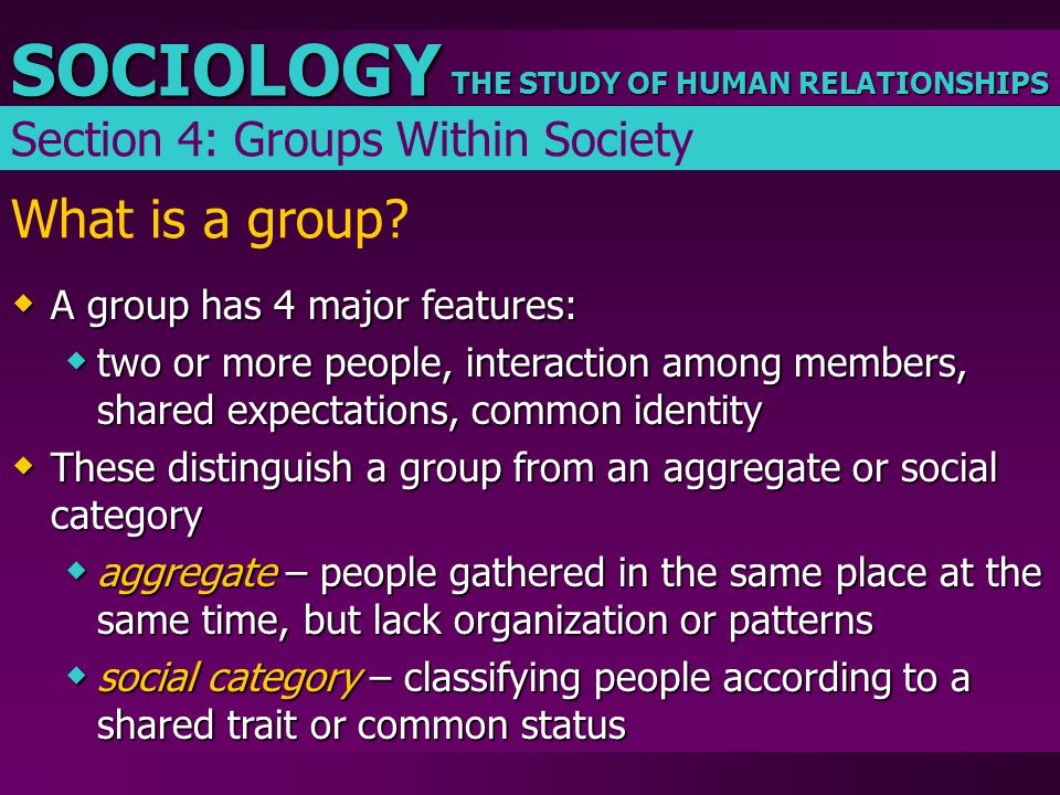 THE STUDY OF HUMAN RELATIONSHIPS SOCIOLOGY What is a group?  A group has 4 major features:  two or more people, interaction among members, shared ex