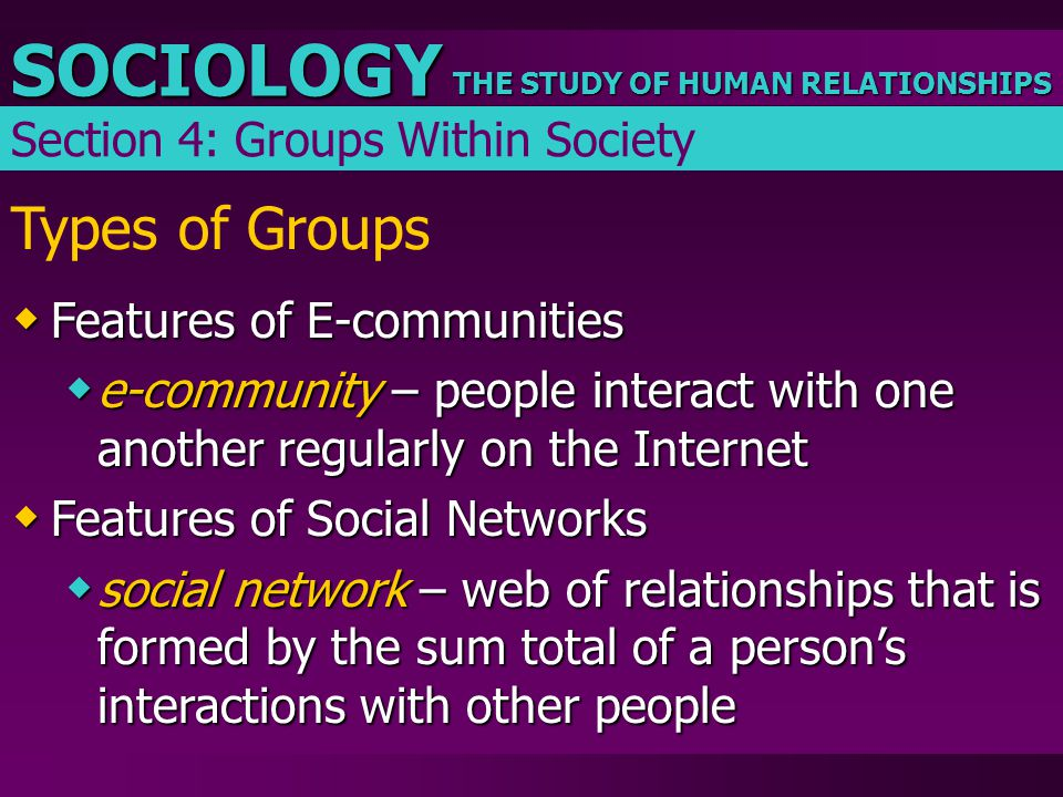 THE STUDY OF HUMAN RELATIONSHIPS SOCIOLOGY Types of Groups  Features of E-communities  e-community – people interact with one another regularly on t