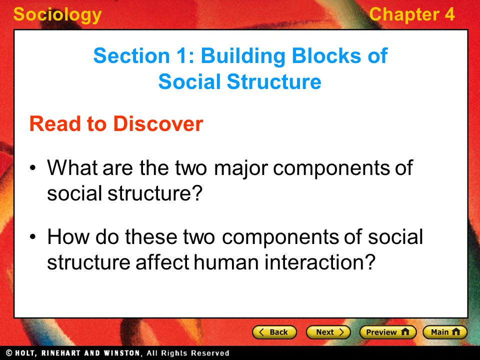 SociologyChapter 4 Read to Discover What are the two major components of social structure? How do these two components of social structure affect huma