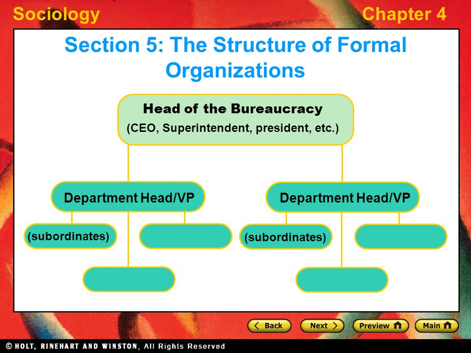 SociologyChapter 4 Head of the Bureaucracy (CEO, Superintendent, president, etc.) (subordinates) Section 5: The Structure of Formal Organizations Depa