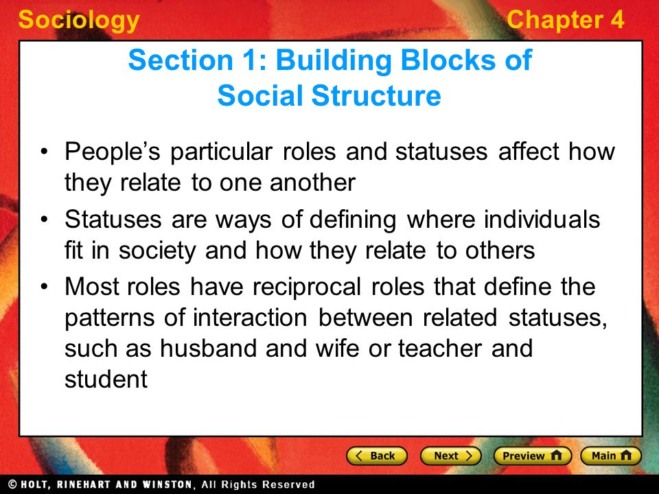 SociologyChapter 4 People's particular roles and statuses affect how they relate to one another Statuses are ways of defining where individuals fit in