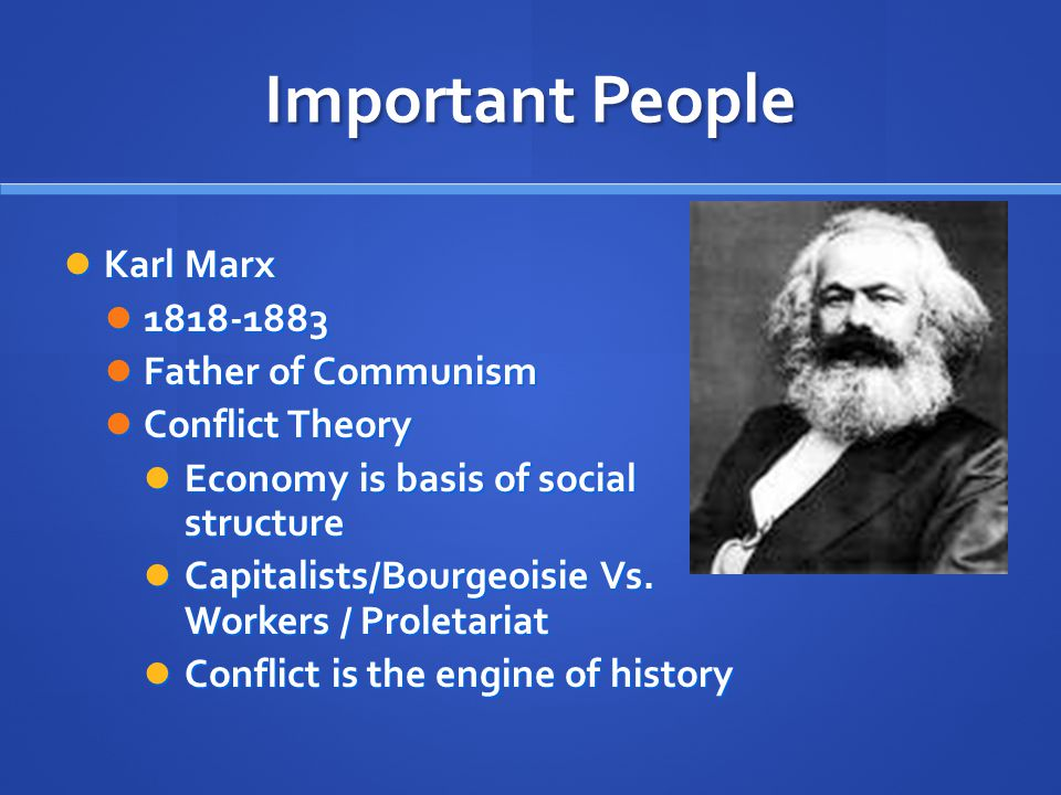 Important People Karl Marx Karl Marx Father of Communism Father of Communism Conflict Theory Conflict Theory Economy is basis of social structure Economy is basis of social structure Capitalists/Bourgeoisie Vs.