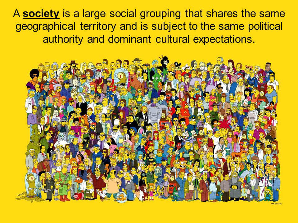 A society is a large social grouping that shares the same geographical territory and is subject to the same political authority and dominant cultural expectations.
