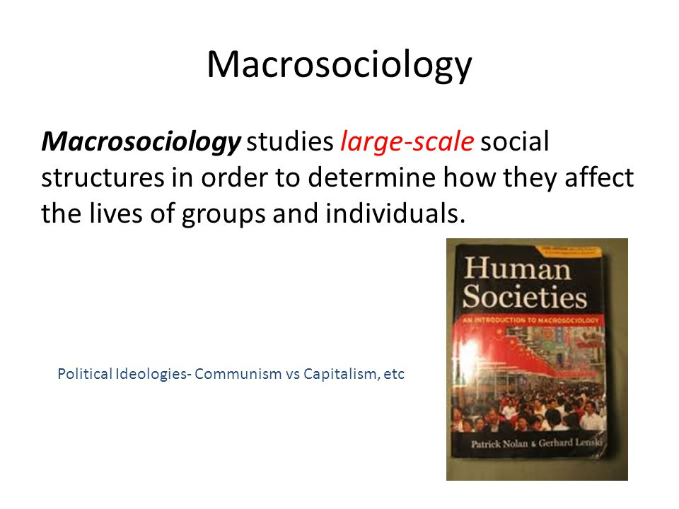 Macrosociology Macrosociology studies large-scale social structures in order to determine how they affect the lives of groups and individuals.