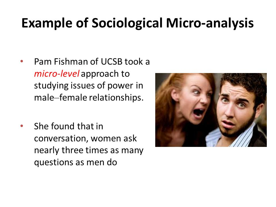 Example of Sociological Micro-analysis Pam Fishman of UCSB took a micro-level approach to studying issues of power in male – female relationships.