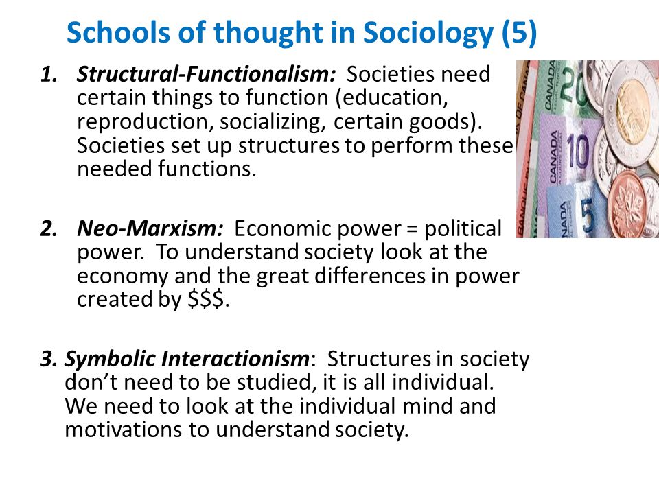 Schools of thought in Sociology (5) 1.Structural-Functionalism: Societies need certain things to function (education, reproduction, socializing, certain goods).