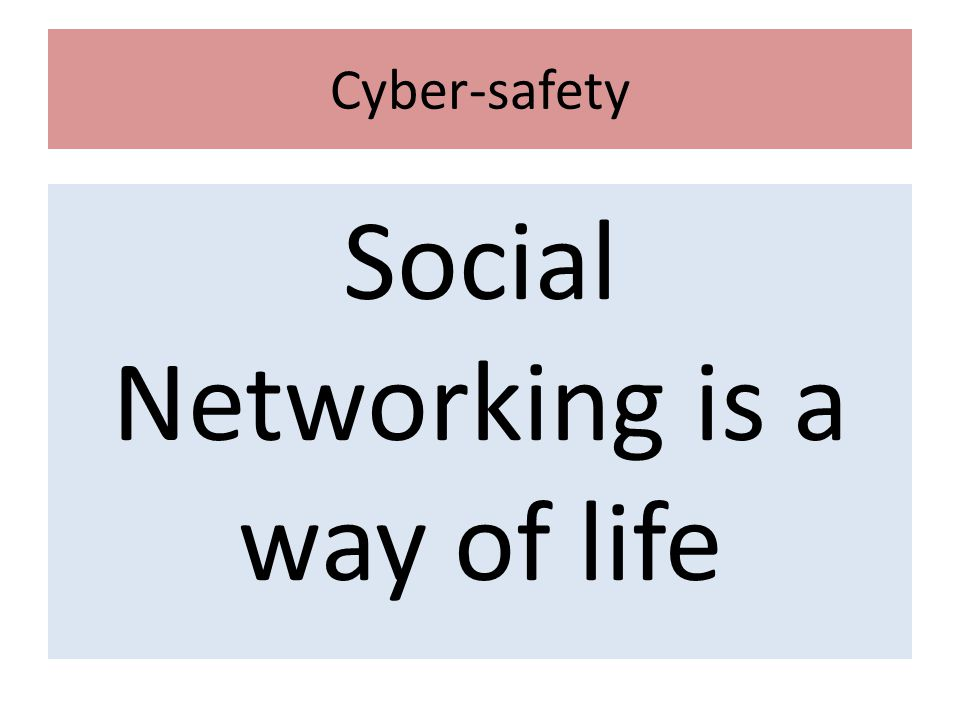 Cyber-safety Social Networking is a way of life