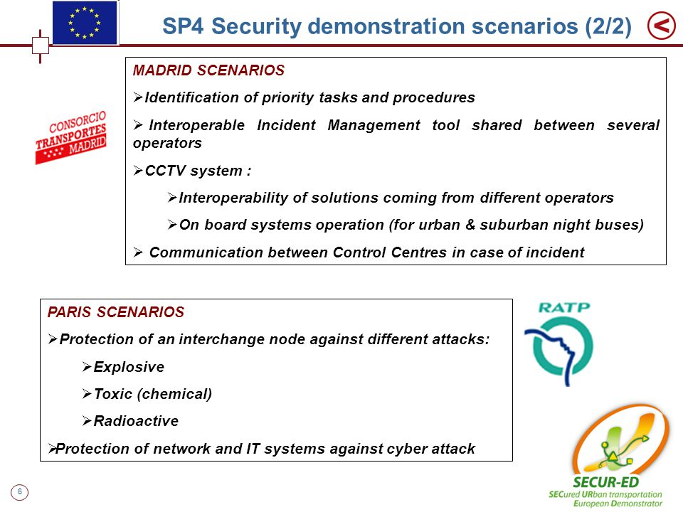 6 SP4 Security demonstration scenarios (2/2) MADRID SCENARIOS  Identification of priority tasks and procedures  Interoperable Incident Management tool shared between several operators  CCTV system :  Interoperability of solutions coming from different operators  On board systems operation (for urban & suburban night buses)  Communication between Control Centres in case of incident PARIS SCENARIOS  Protection of an interchange node against different attacks:  Explosive  Toxic (chemical)  Radioactive  Protection of network and IT systems against cyber attack