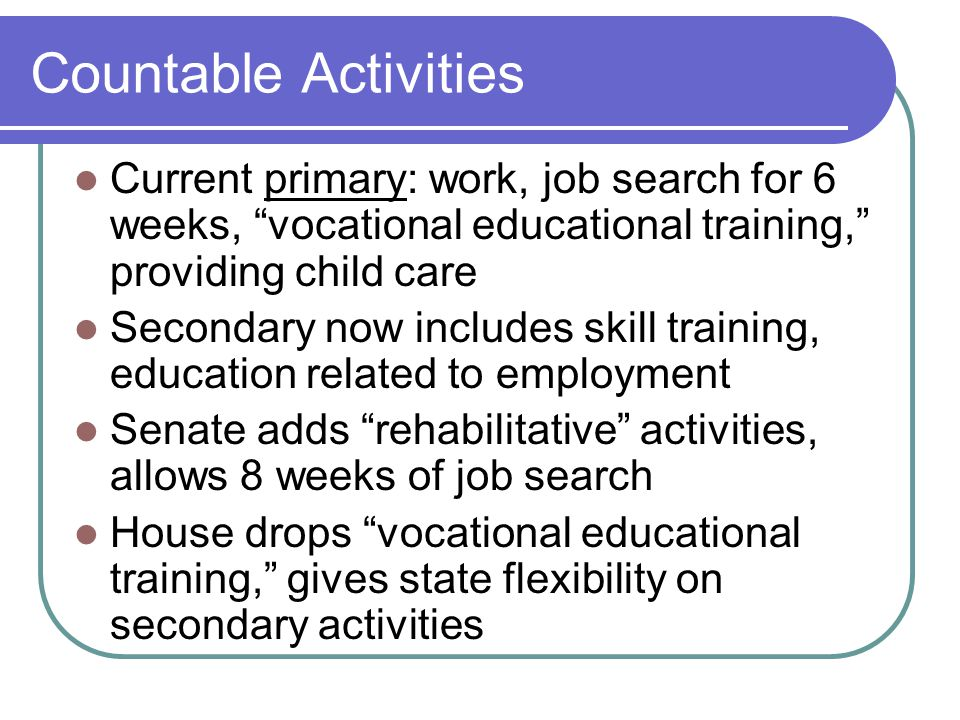 Countable Activities Current primary: work, job search for 6 weeks, vocational educational training, providing child care Secondary now includes skill training, education related to employment Senate adds rehabilitative activities, allows 8 weeks of job search House drops vocational educational training, gives state flexibility on secondary activities
