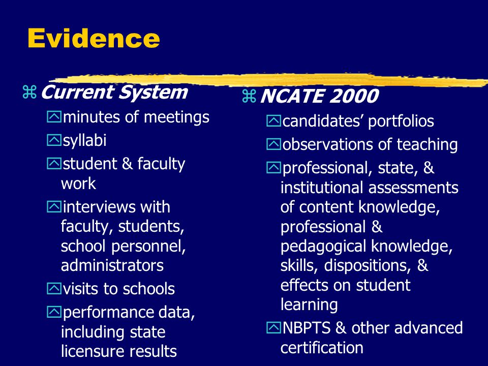 Evidence zCurrent System yminutes of meetings ysyllabi ystudent & faculty work yinterviews with faculty, students, school personnel, administrators yvisits to schools yperformance data, including state licensure results z NCATE 2000 ycandidates' portfolios yobservations of teaching yprofessional, state, & institutional assessments of content knowledge, professional & pedagogical knowledge, skills, dispositions, & effects on student learning yNBPTS & other advanced certification