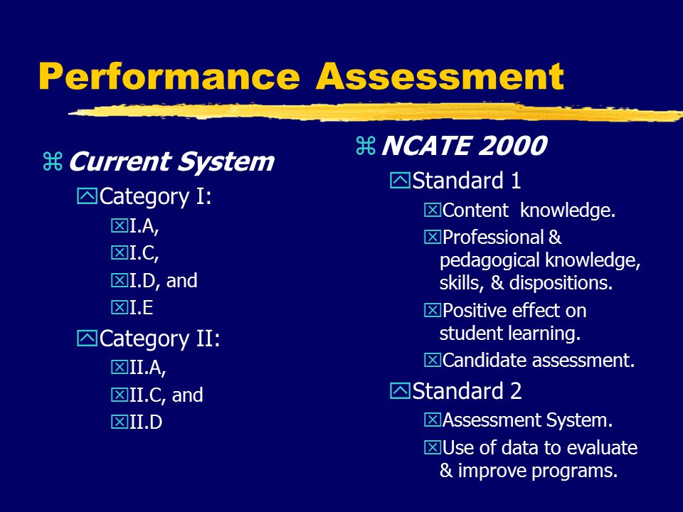 Performance Assessment zCurrent System yCategory I: xI.A, xI.C, xI.D, and xI.E yCategory II: xII.A, xII.C, and xII.D z NCATE 2000 yStandard 1 xContent knowledge.