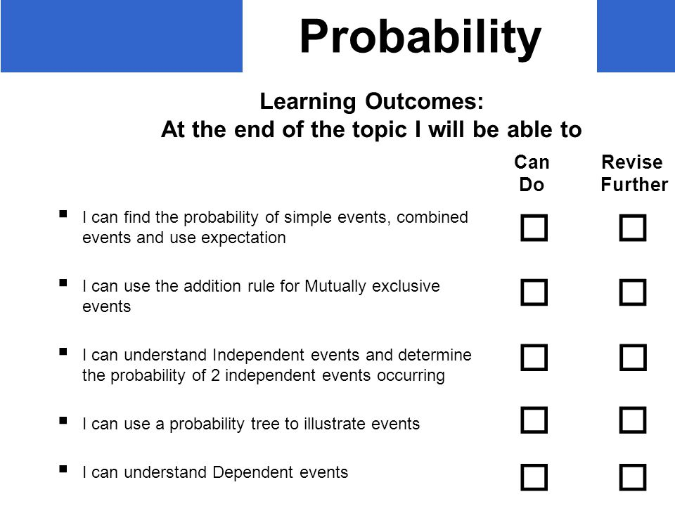 Probability  I can find the probability of simple events, combined events and use expectation  I can use the addition rule for Mutually exclusive events  I can understand Independent events and determine the probability of 2 independent events occurring  I can use a probability tree to illustrate events  I can understand Dependent events Learning Outcomes: At the end of the topic I will be able to Can Revise Do Further         