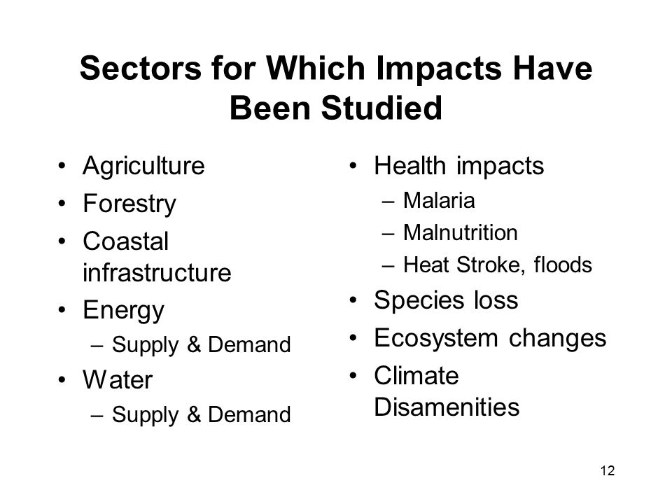 12 Sectors for Which Impacts Have Been Studied Agriculture Forestry Coastal infrastructure Energy –Supply & Demand Water –Supply & Demand Health impacts –Malaria –Malnutrition –Heat Stroke, floods Species loss Ecosystem changes Climate Disamenities