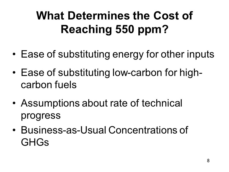 8 What Determines the Cost of Reaching 550 ppm.