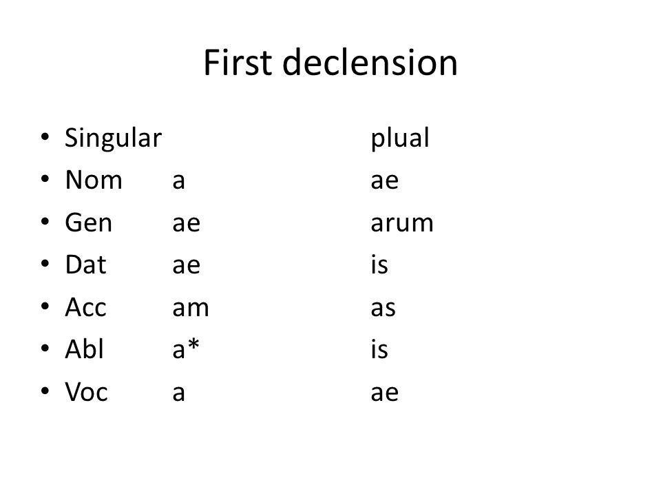 5 First Declension Singularplual Nomaae Genaearum Dataeis Accamas Abla*is  Vocaae