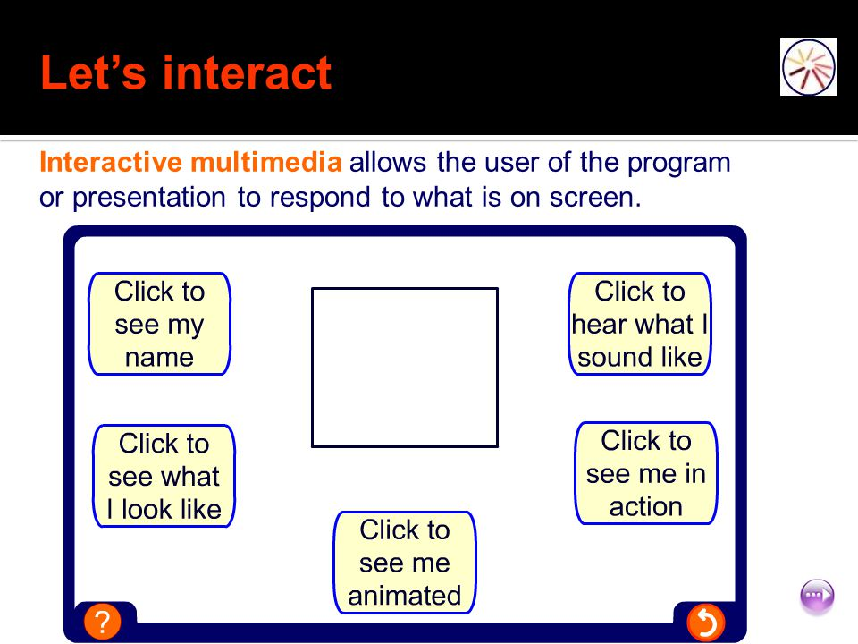 Let's interact Interactive multimedia allows the user of the program or presentation to respond to what is on screen.