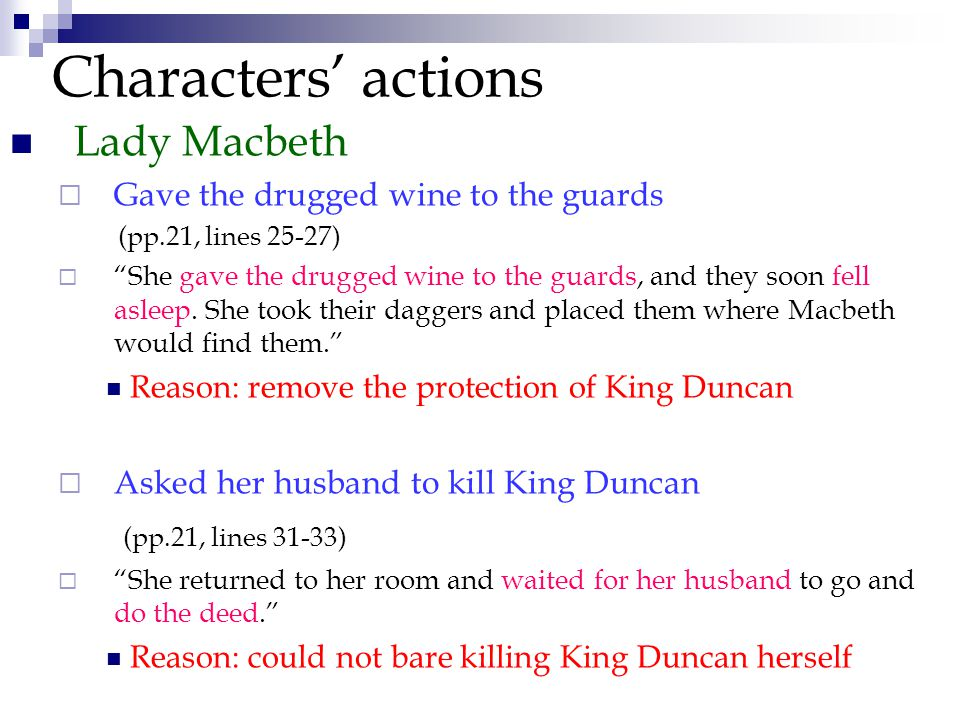 Characters' actions Lady Macbeth  Gave the drugged wine to the guards (pp.21, lines 25-27)  She gave the drugged wine to the guards, and they soon fell asleep.