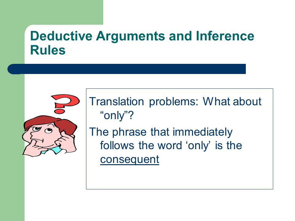 Deductive Arguments and Inference Rules Translation problems: What about only .