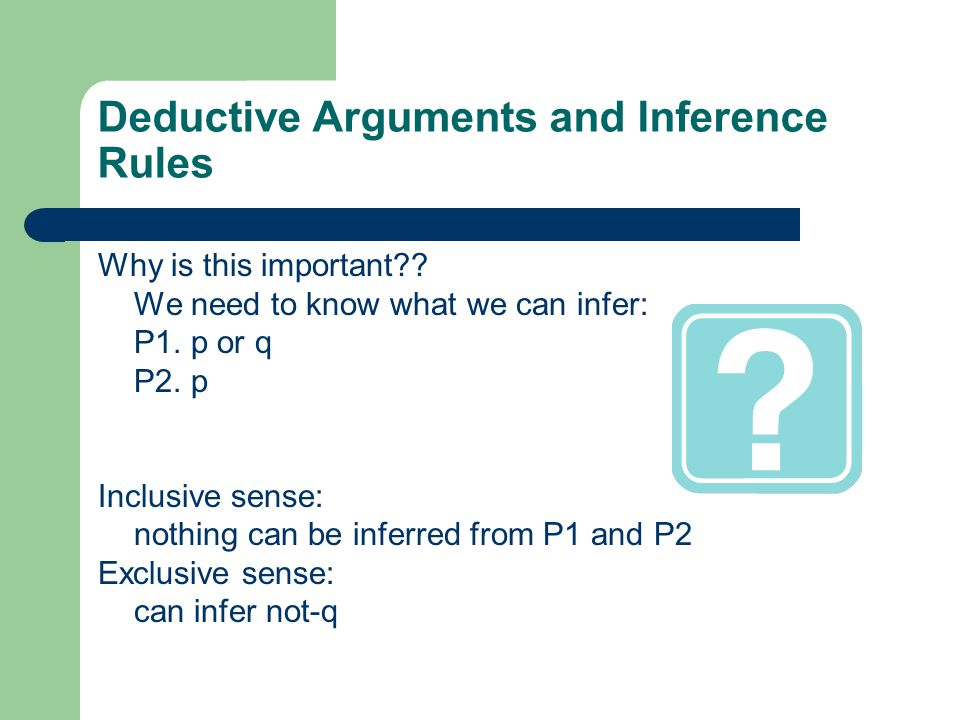 Deductive Arguments and Inference Rules Why is this important .