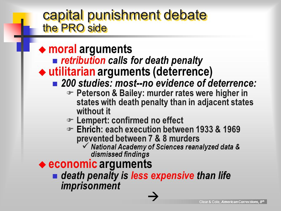 the debate on capital punishment Capital punishment the question as to whether or not it is morally acceptable for the state to execute people, and if so.