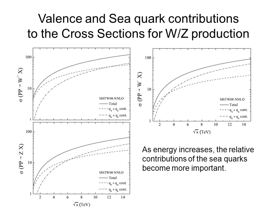 Valence and Sea quark contributions to the Cross Sections for W/Z production As energy increases, the relative contributions of the sea quarks become more important.