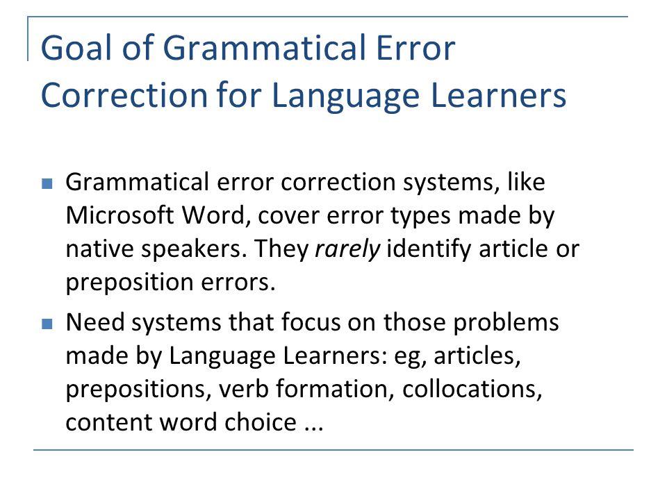 Correction of grammatical errors