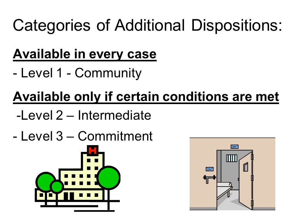 Categories of Additional Dispositions: Available in every case - Level 1 - Community Available only if certain conditions are met -Level 2 – Intermediate - Level 3 – Commitment