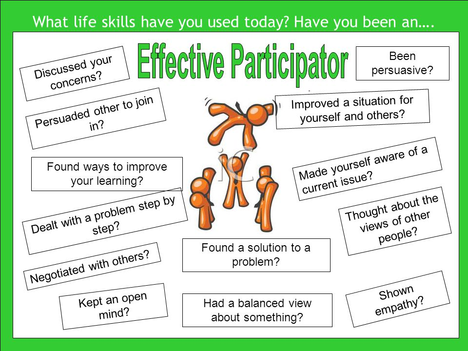 What life skills have you used today. Have you been an….