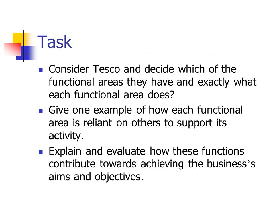 Task Consider Tesco and decide which of the functional areas they have and exactly what each functional area does.