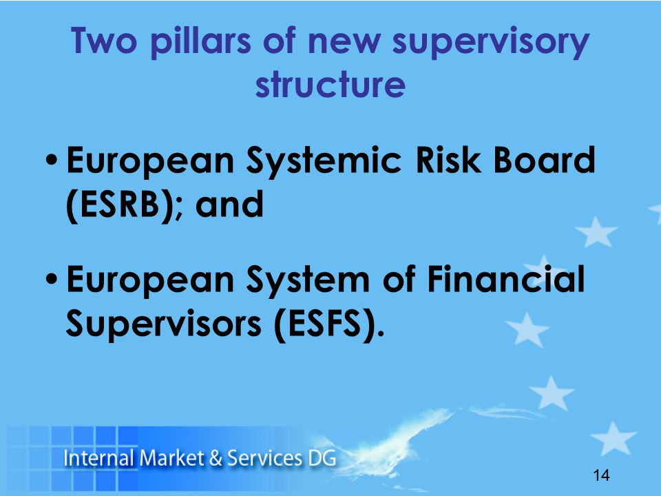 14 Two pillars of new supervisory structure European Systemic Risk Board (ESRB); and European System of Financial Supervisors (ESFS).