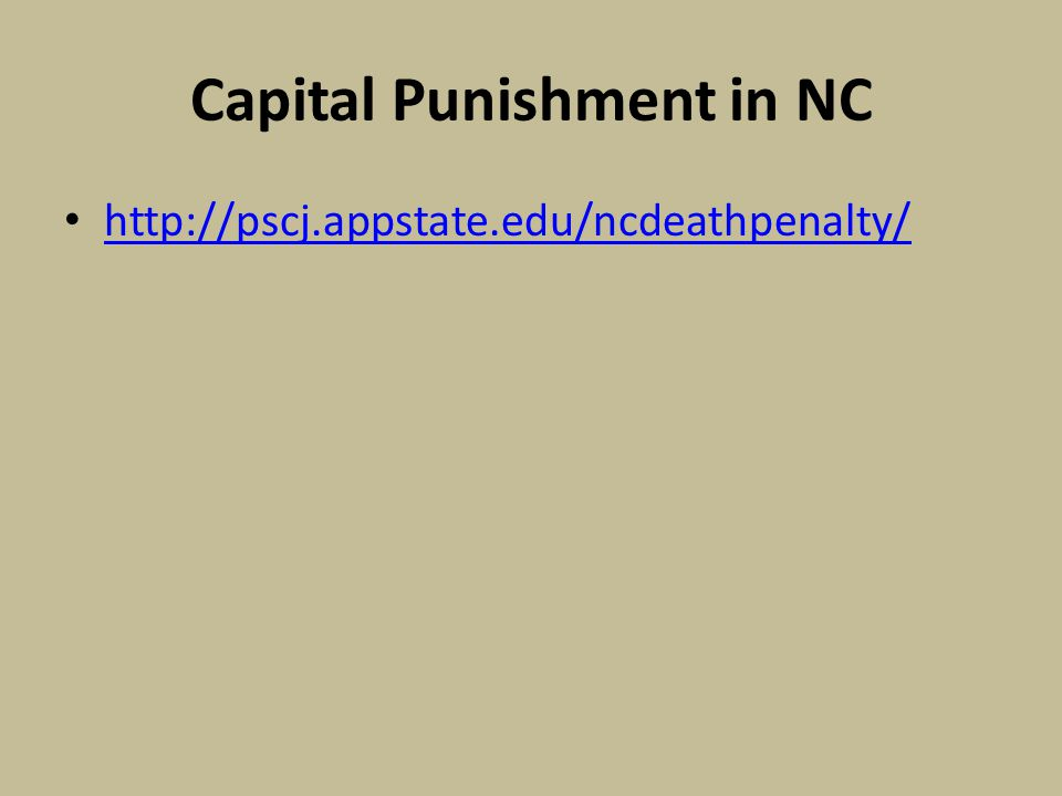 Capital Punishment in NC