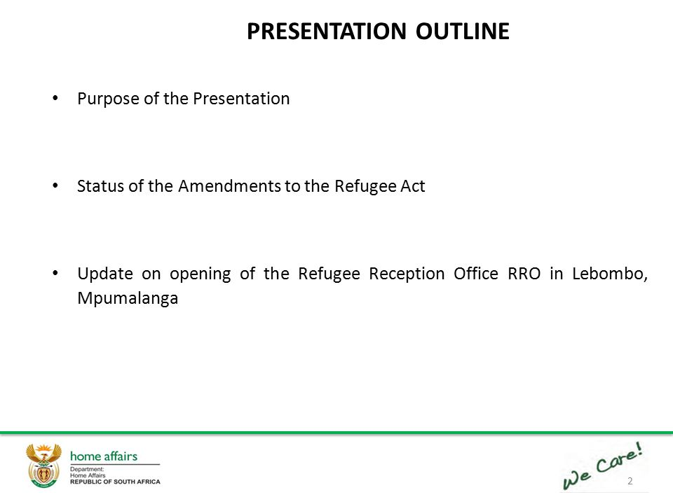 1 PRESENTATION TO THE PORTFOLIO COMMITTEE ON HOME AFFAIRS STATUS OF ...