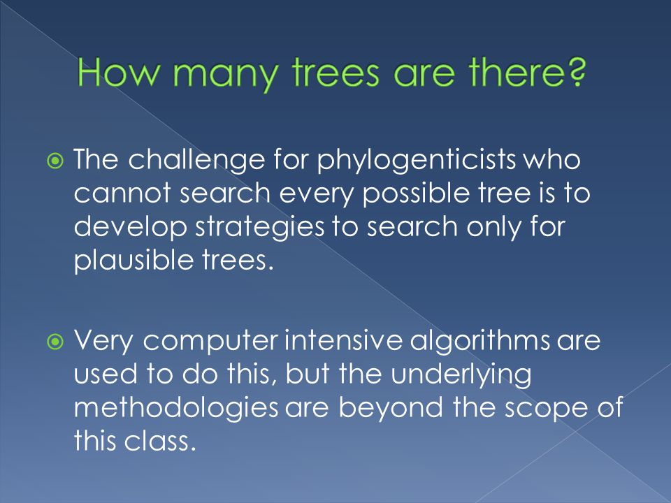  The challenge for phylogenticists who cannot search every possible tree is to develop strategies to search only for plausible trees.