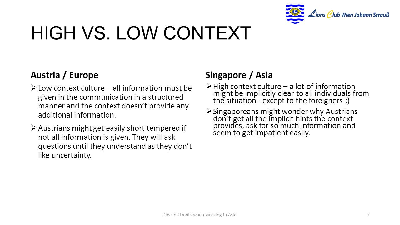 high and low context cultures