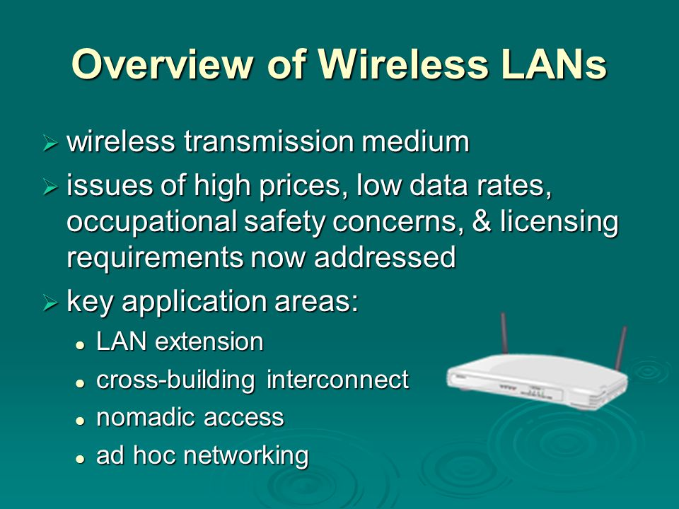 Overview of Wireless LANs  wireless transmission medium  issues of high prices, low data rates, occupational safety concerns, & licensing requirements now addressed  key application areas: LAN extension LAN extension cross-building interconnect cross-building interconnect nomadic access nomadic access ad hoc networking ad hoc networking