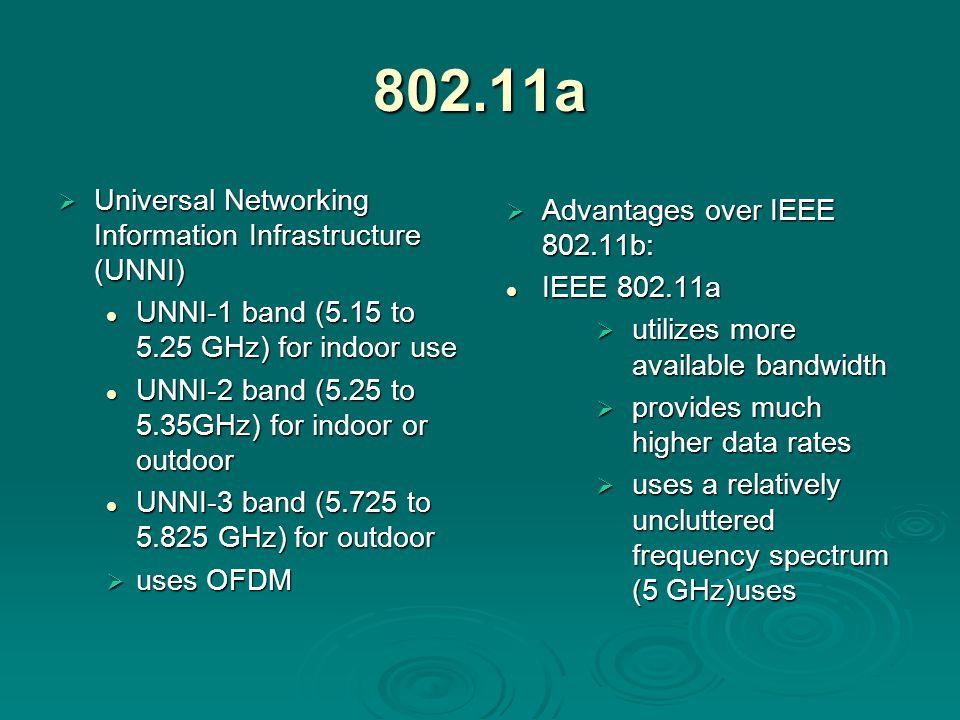 802.11a  Universal Networking Information Infrastructure (UNNI) UNNI-1 band (5.15 to 5.25 GHz) for indoor use UNNI-1 band (5.15 to 5.25 GHz) for indoor use UNNI-2 band (5.25 to 5.35GHz) for indoor or outdoor UNNI-2 band (5.25 to 5.35GHz) for indoor or outdoor UNNI-3 band (5.725 to GHz) for outdoor UNNI-3 band (5.725 to GHz) for outdoor  uses OFDM  Advantages over IEEE b: IEEE a  utilizes more available bandwidth  provides much higher data rates  uses a relatively uncluttered frequency spectrum (5 GHz)uses