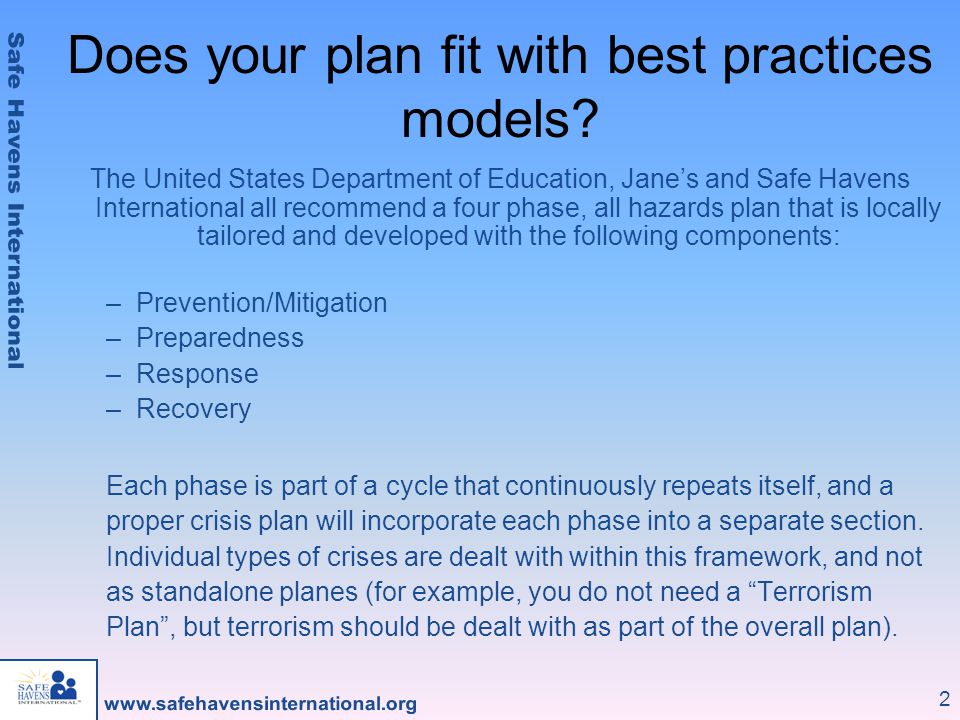 2 Does your plan fit with best practices models.