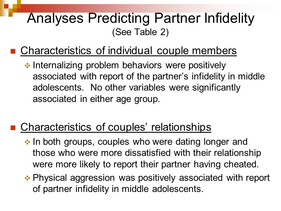 Analyses Predicting Partner Infidelity (See Table 2) Characteristics of individual couple members  Internalizing problem behaviors were positively associated with report of the partner's infidelity in middle adolescents.