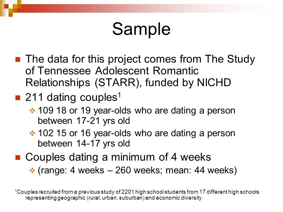 Sample The data for this project comes from The Study of Tennessee Adolescent Romantic Relationships (STARR), funded by NICHD 211 dating couples 1  or 19 year-olds who are dating a person between yrs old  or 16 year-olds who are dating a person between yrs old Couples dating a minimum of 4 weeks  (range: 4 weeks – 260 weeks; mean: 44 weeks) 1 Couples recruited from a previous study of 2201 high school students from 17 different high schools representing geographic (rural, urban, suburban) and economic diversity