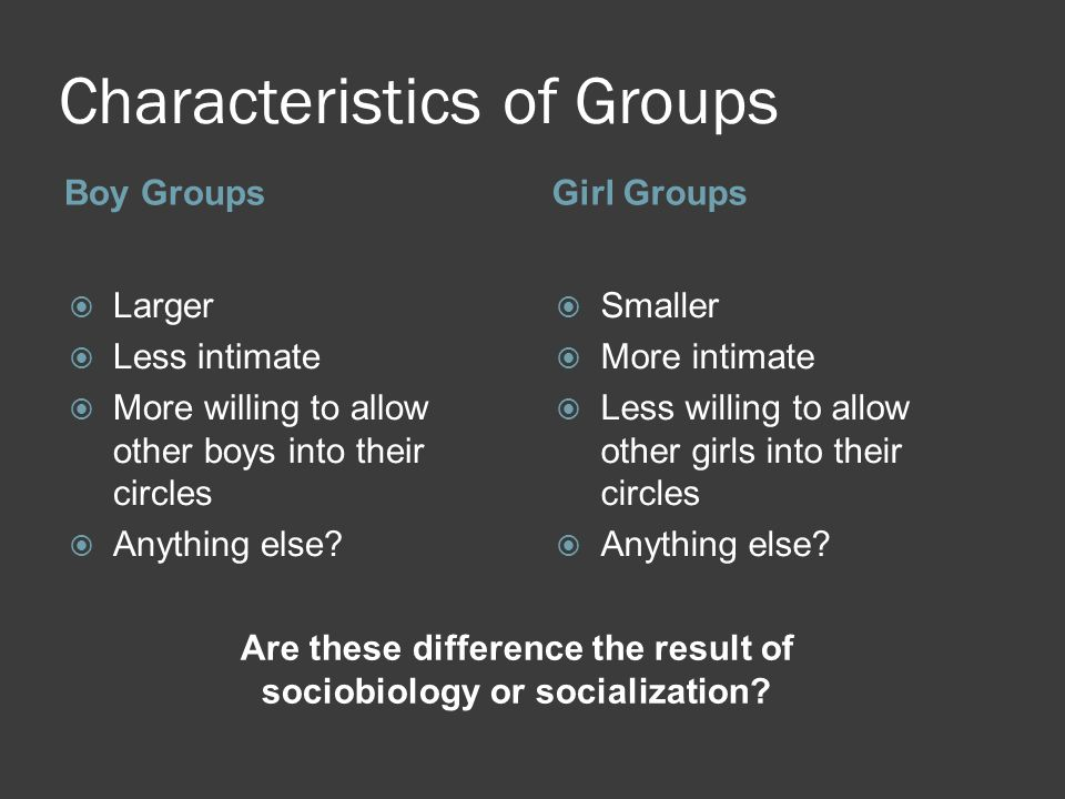 Characteristics of Groups Boy GroupsGirl Groups  Larger  Less intimate  More willing to allow other boys into their circles  Anything else.
