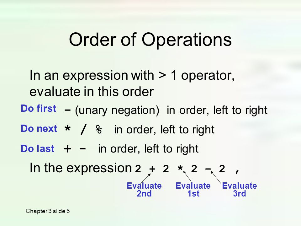 Chapter 3 slide 5 Order of Operations In an expression with > 1 operator, evaluate in this order - (unary negation) in order, left to right * / % in order, left to right + - in order, left to right In the expression * 2 – 2, Do first Do last Do next Evaluate 1st Evaluate 2nd Evaluate 3rd